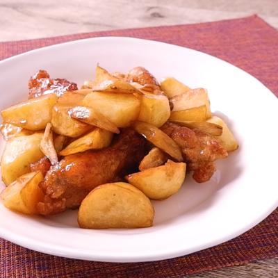 鶏手羽元と根菜の揚げ甘辛煮