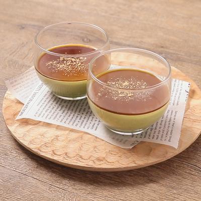 抹茶と黒蜜のパンナコッタ