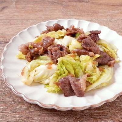 牛肉と春キャベツの梅炒め