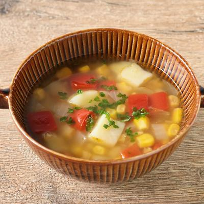 レンズ豆の具だくさんコンソメスープ