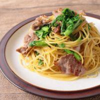わさび菜とカリカリ豚のスパゲティ