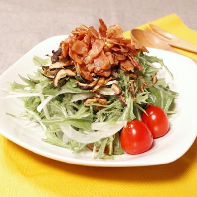 水菜とパリパリしいたけのサラダ