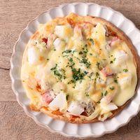 お手軽 長芋としらすベーコンの薄焼きピザ
