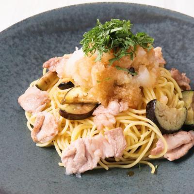 ナスと豚肉のおろしポン酢スパゲティ