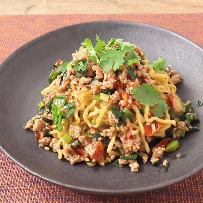 ひき肉とトマトのピリ辛らっきょう和え麺