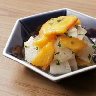 柿と大根のレモンペッパーサラダ