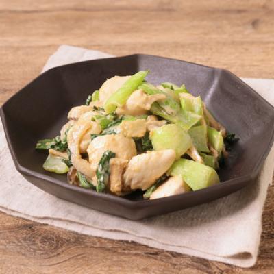 鶏ささみとチンゲン菜のゴマみそ炒め