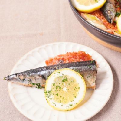 香ばし秋刀魚のトマトパエリア
