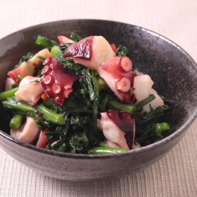 春菊とタコのピリ辛ナムル