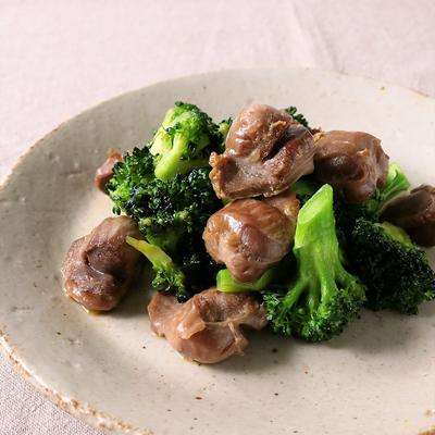 砂肝とブロッコリーの中華炒め