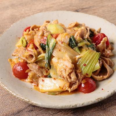 チンゲン菜とトマトの豚マヨキムチ