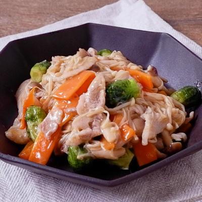 芽キャベツときのこの中華風とろとろ煮