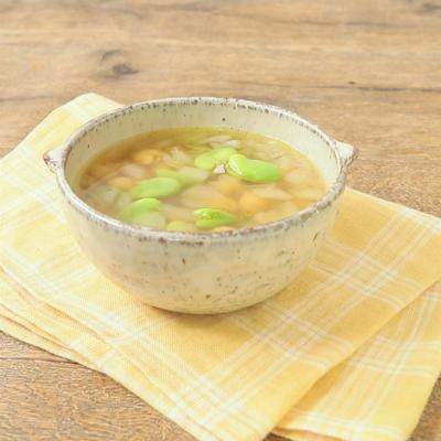 そら豆とひよこ豆の和風スープ