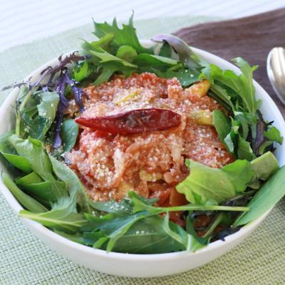 アスパラガスとツナのトマトチーズ丼