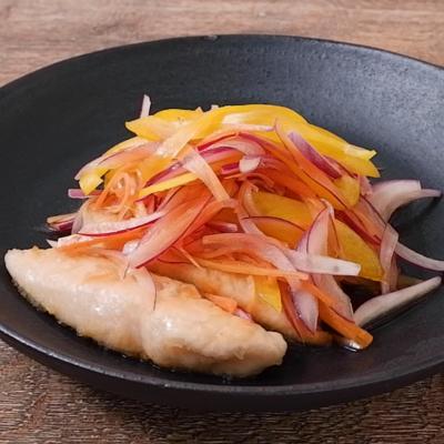 彩り野菜とささみのレモン南蛮