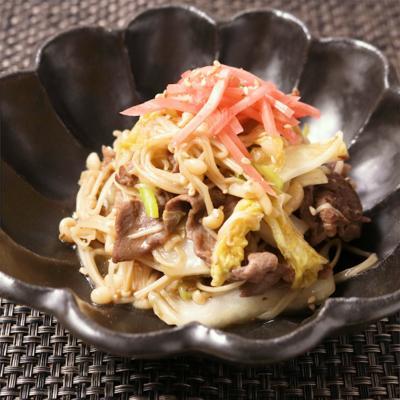 ごはんがすすむ えのきと牛肉のすき焼き風炒め