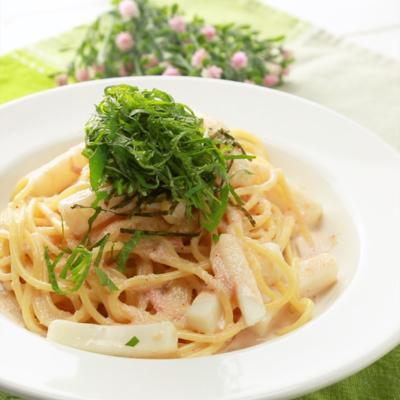 イカと大葉の明太スパゲティ