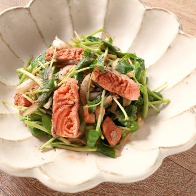クレソンとたたき風サーモンのバルサミコ酢サラダ