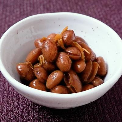 黒糖生姜でうずら豆の甘煮