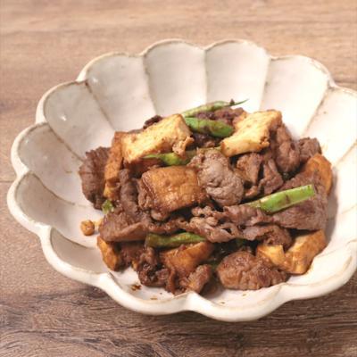 牛肉と厚揚げの赤味噌炒め