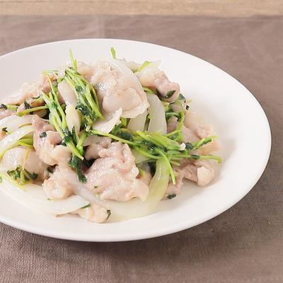 豆苗と豚バラ肉の生姜焼き