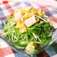 癖になる!シャキシャキ水菜のニンニク風味チーズサラダ