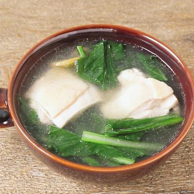 小松菜と鶏肉のあっさり塩スープ
