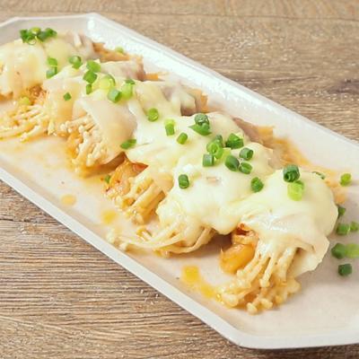 レンジで簡単 えのきとキムチのチーズ肉巻き