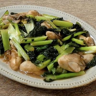 雪菜と牡蠣のポン酢炒め