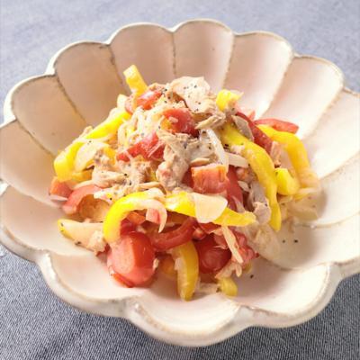 電子レンジで パプリカのツナマヨ温サラダ