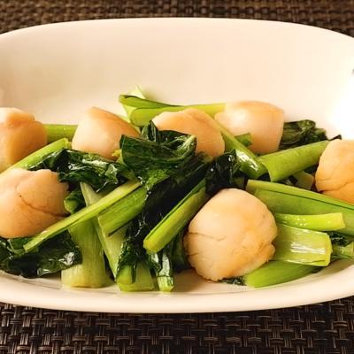 ホタテと小松菜のバター醤油炒め