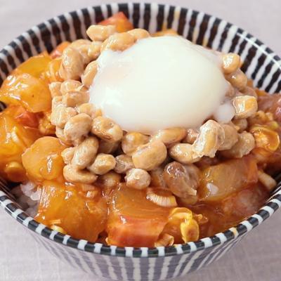 韓国風 甘辛いタイの納豆ごはん