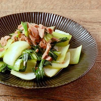 チンゲン菜とツナのしょうゆ炒め