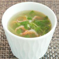 シャキシャキ豆苗と桜えびのスープ