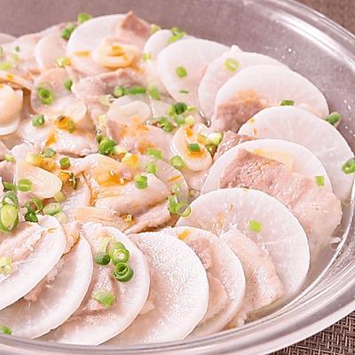 塩ダレで簡単 豚肉と大根のにんにくレンジ蒸し