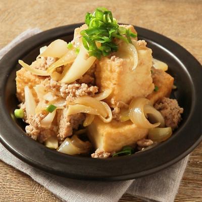 レンジで簡単 ひき肉と厚揚げの甘辛煮