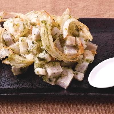 玉ねぎと里芋の磯辺かき揚げ