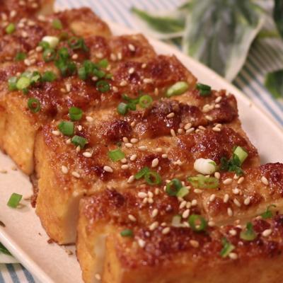 厚揚げの山椒味噌マヨ焼き