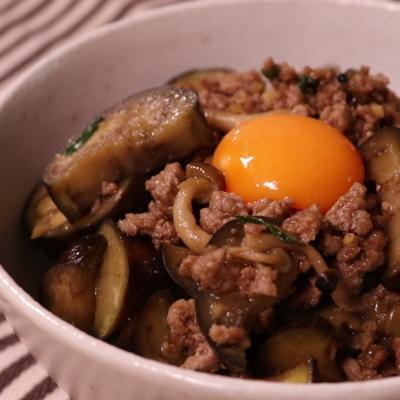 ナスとひき肉の味噌甘辛丼