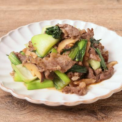 焼き肉のタレで簡単 牛肉とチンゲン菜炒め