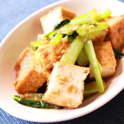 小松菜と厚揚げの生姜炒め