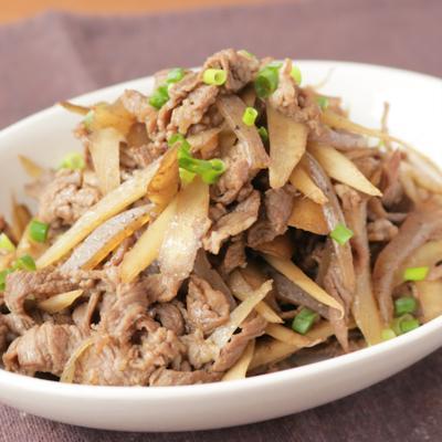 しっかり美味しい牛肉とゴボウとこんにゃくの炒め煮