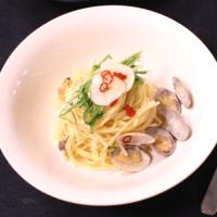 あさりと水菜のペペロンチーノパスタ