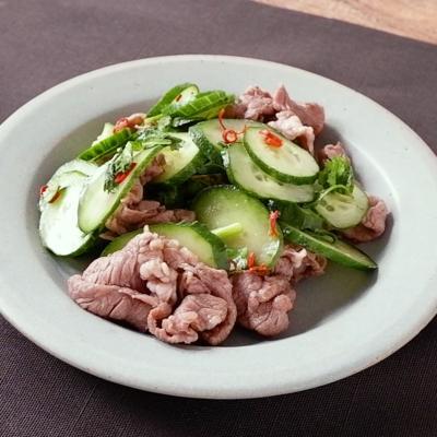 きゅうりと牛肉のエスニック風サラダ