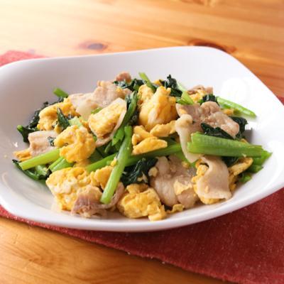 豚バラ肉と小松菜の中華風卵炒め