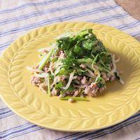 レンジで簡単 ひき肉ともやしと豆苗のエスニック和え