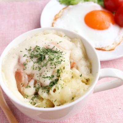 朝ごはんにぴったり マグカップでベーコンチーズ蒸しパン