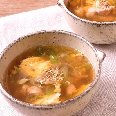 鶏とねぎのかき玉スープ