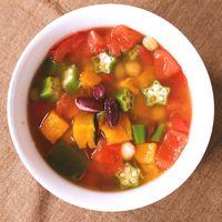 カラフル野菜とミックスビーンズのコンソメスープ