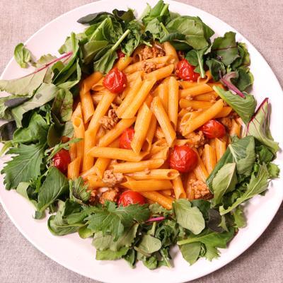 ワンパンで簡単 ひき肉とトマトのパスタ